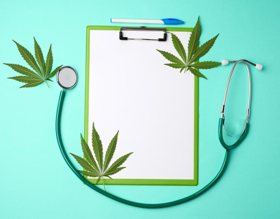 A clip board, stethoscope, and hemp leaves