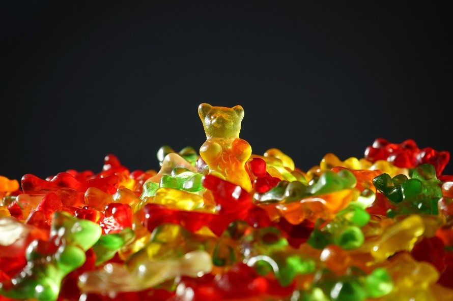 A pile of cannabis-infused gummy bears