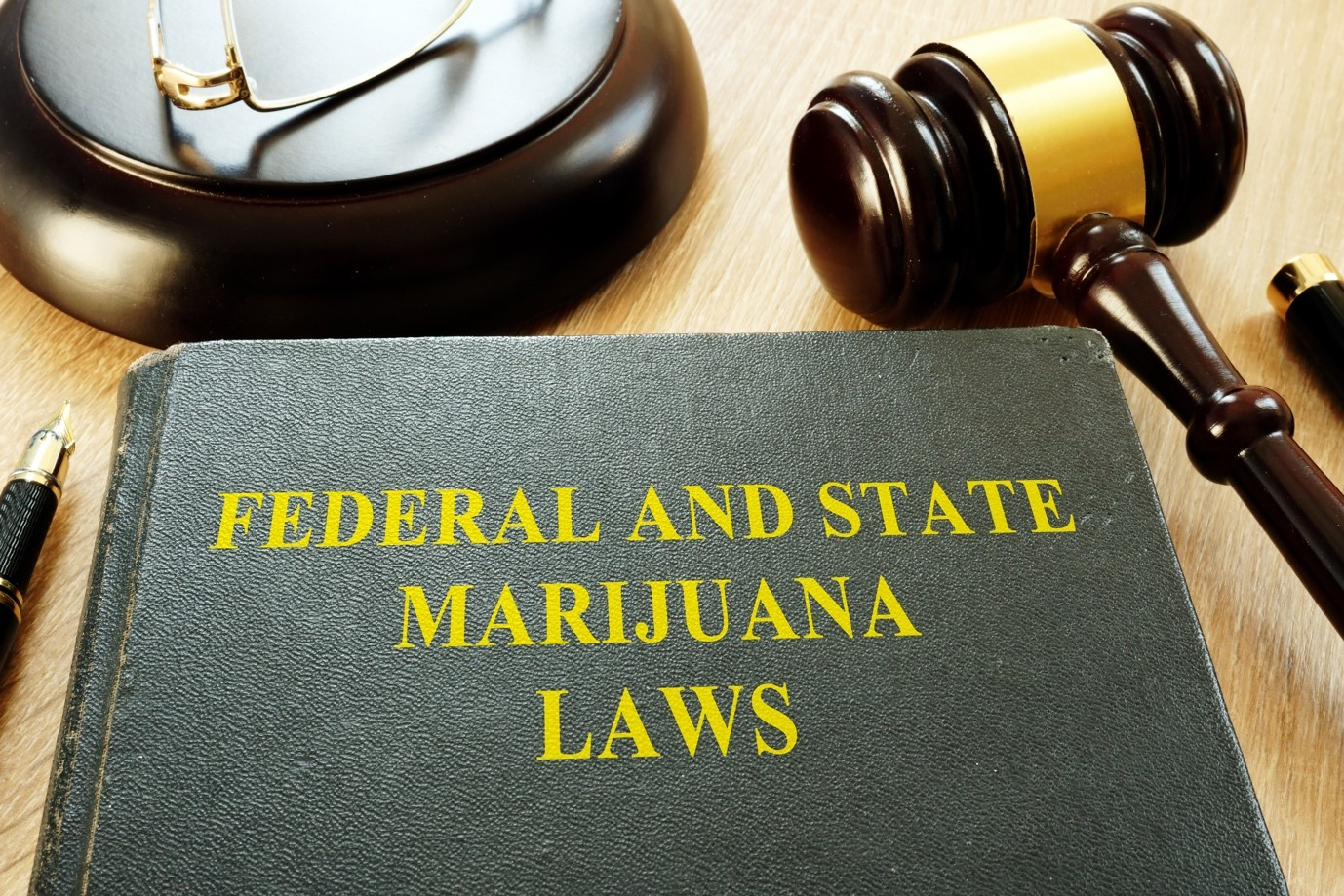 A legal book containing federal and state laws regarding marijuana