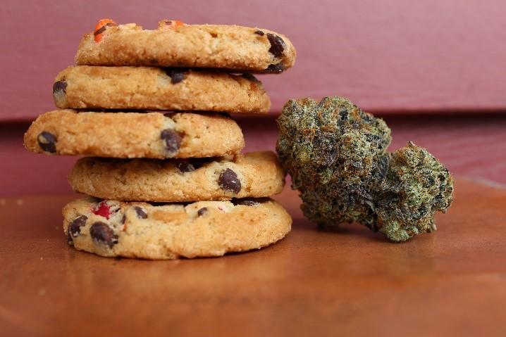 Marijuana cookies next to some cannabis